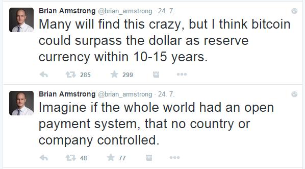 Brian Armstron tweetuje o bitcoinu