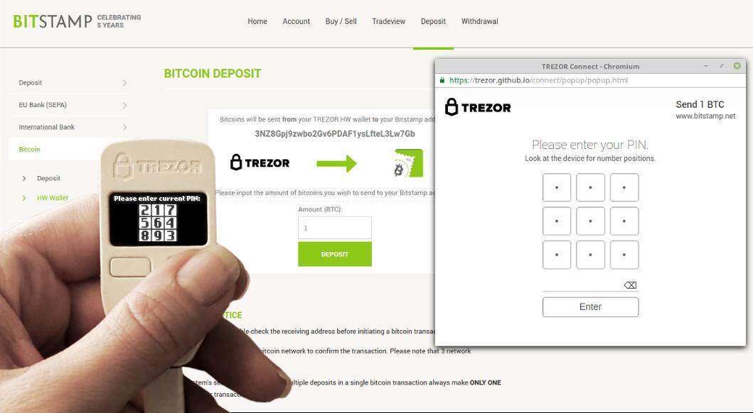 Bitstamp integroval bitcoin Trezor