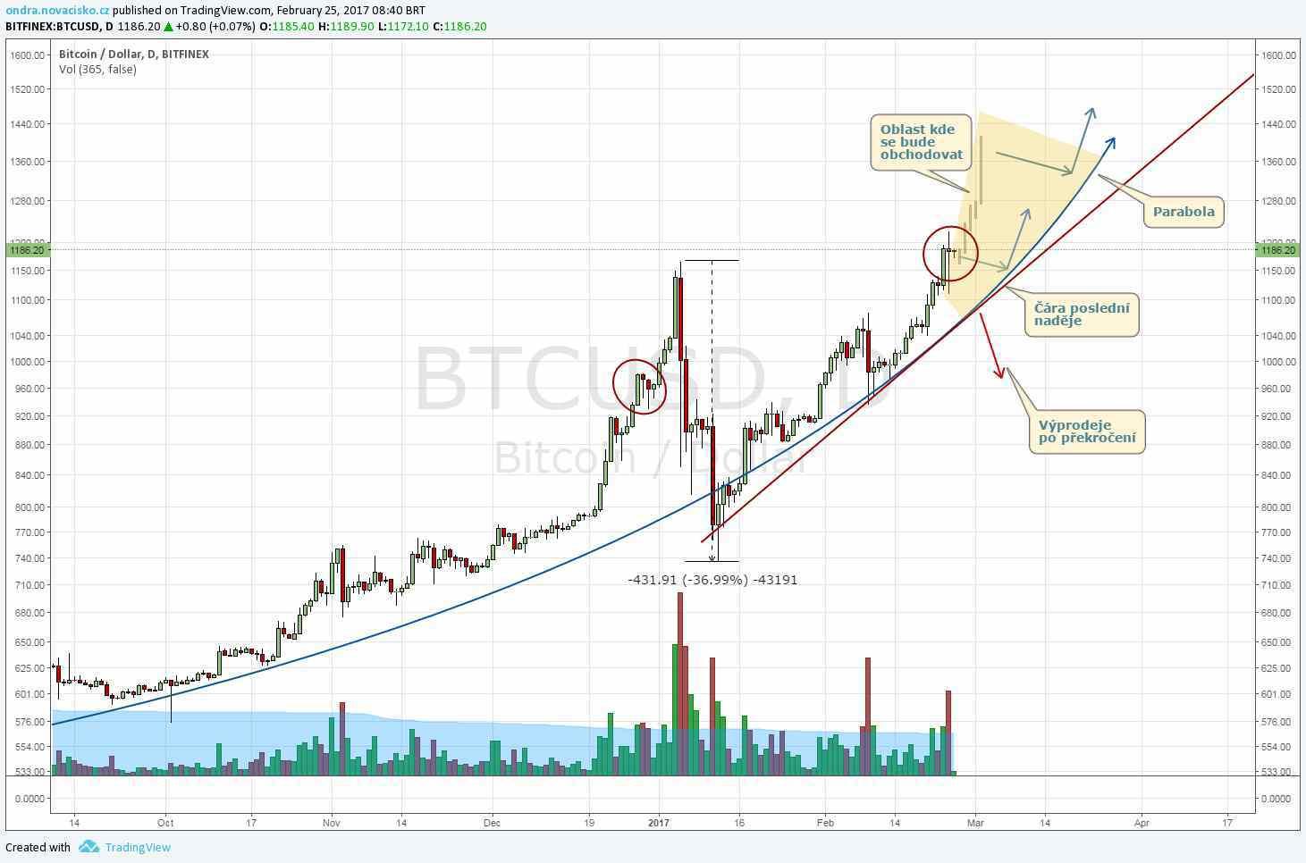 analýza kurz bitcoinu únor 2017