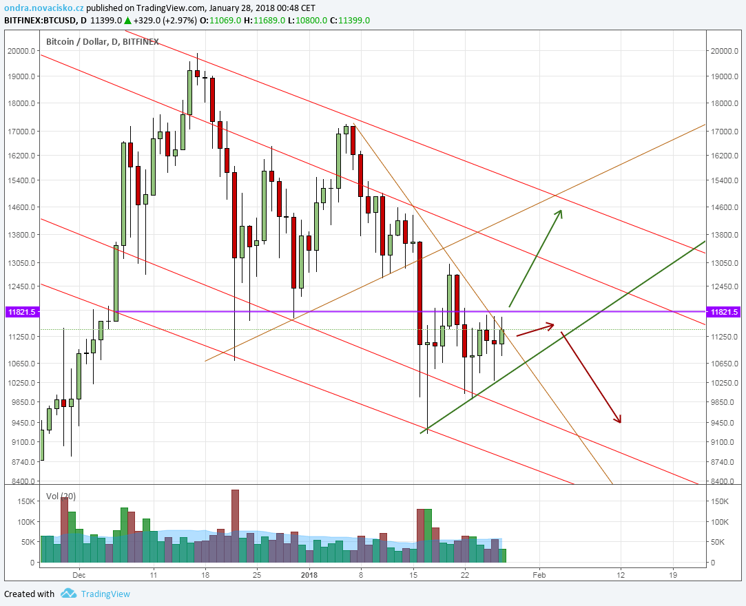 kurz bitcoinu cena leden 2018